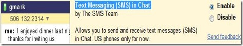 Enable SMS in Gmail